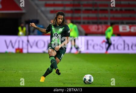 Leverkusen, Germany. 26th May, 2020. Leverkusen, Germany, May 26 2020: Football Bundesliga, matchday 28, Bayer 04 Leverkusen - VfL Wolfsburg, Kevin Mbabu (Wolfsburg) Credit: Juergen Schwarz/Alamy Live News Stock Photo