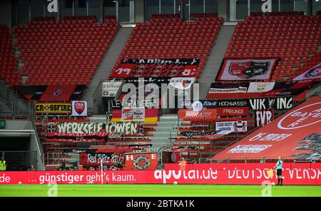 Leverkusen, Germany. 26th May, 2020. Leverkusen, Germany, May 26 2020: Football Bundesliga, matchday 28, Bayer 04 Leverkusen - VfL Wolfsburg, Leverkusener Fahnenmeer Credit: Juergen Schwarz/Alamy Live News Stock Photo