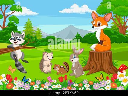 Cartoon wild animals in the jungle - Stock Photo