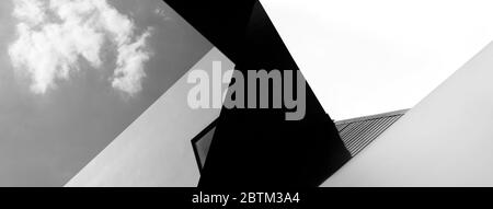 abstract modern black and white architecture abstract with sky creative banner background