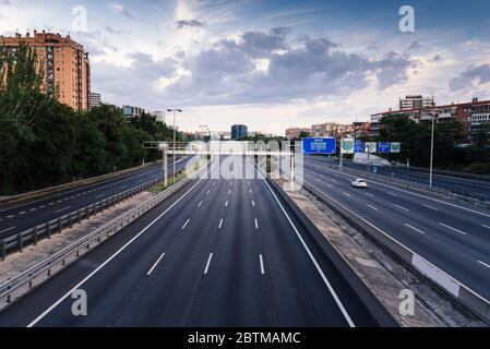 Madrid, Spain - May 9, 2020: Empty M30 Highway in Madrid during COVID-19 - Stock Photo