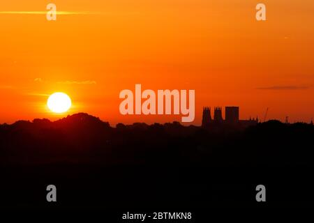 A beautiful sunrise with York Minster in North Yorkshire,UK - Stock Photo