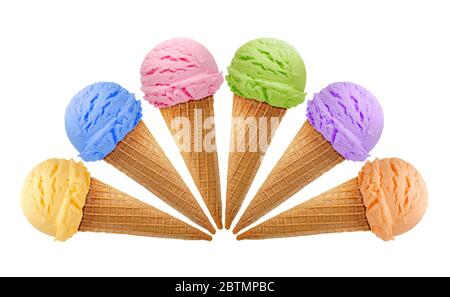 Vanilla, strawberry, chocolate ice cream scoops in cones isolated on white background - Stock Photo