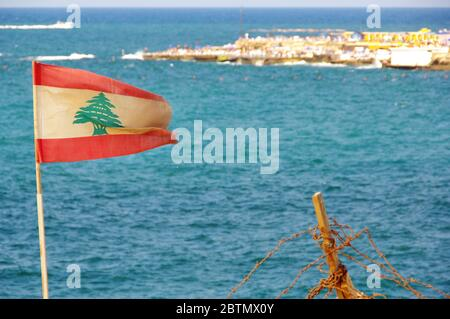 Lebanese flag waving at the coast of Beirut, Lebanon
