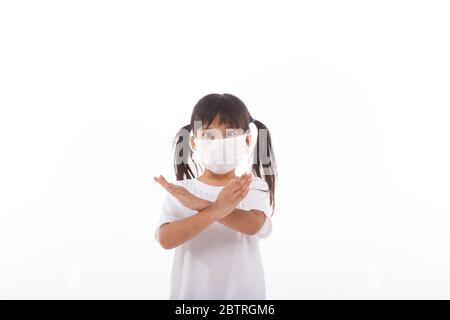Coronavirus and Air pollution pm2.5 concept.Little girl wearing mask for protect pm2.5 and show stop hands gesture for stop corona virus outbreak.Wuha - Stock Photo