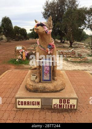 Corrigin is a town in the central Wheatbelt region of Western Australia and has a dog cemetery containing over 80 buried dogs - Stock Photo