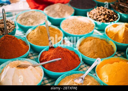 Close View Of Masala Curry, Bright Colors Fragrant Seasoning, Condiment In Tray On Local Food Market, Bazaar. Popular Souvenirs From India.