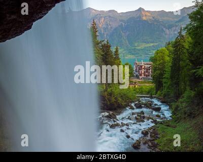 Giessbach waterfalls, Switzerland - Stock Photo