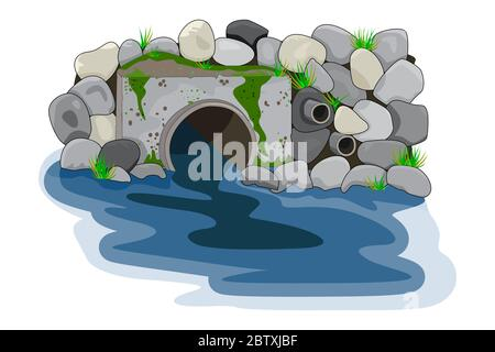 Water pollution from industrial pipe. Wastewater discharge from plant. Plant wastewater emissions into river or sea. Environmental pollution. Vector - Stock Photo