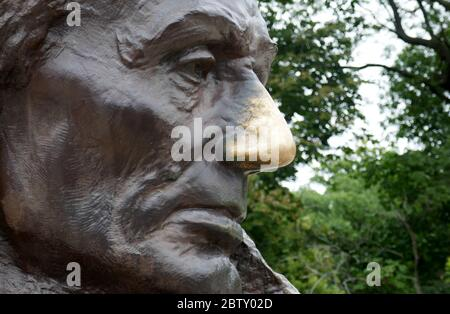Abraham Lincoln's nose in Oak Ridge Cemetery, Springfield, Illinois, is the final resting place of the 16th President of the USA Stock Photo