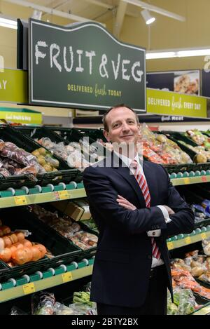 Giles Hurley chief executive for Aldi in the UK and Ireland, photographed in an Aldi store in Nuneaton.