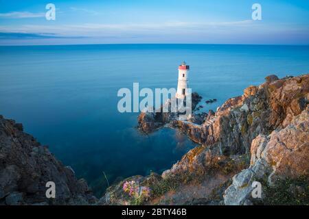 Capo Ferro Lighthouse, Capo Ferro, Porto Cervo, Costa Smeralda, Sardinia, Italy, Mediterranean, Europe - Stock Photo