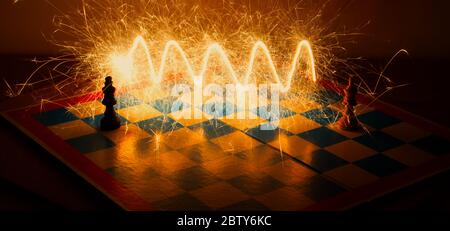 Two chess kings fighting - Stock Photo