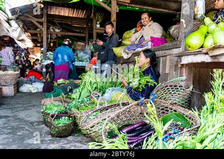 Vegetable market, Myitkyina, Kachin state, Myanmar (Burma), Asia Stock Photo