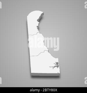 3d map of Delaware is a state of United States - Stock Photo