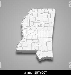 3d map of Mississippi is a state of United States - Stock Photo