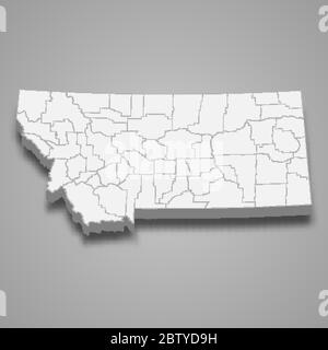 3d map of Montana is a state of United States - Stock Photo