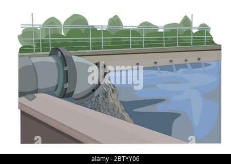 Wastewater treatment plant. Wastewater released from industrial plants. Environmental pollution. Pipe with sludge pouring out into water. Stock vector - Stock Photo