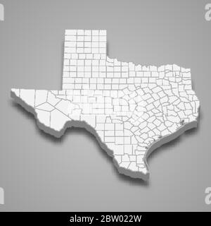 3d map of Texas is a state of United States - Stock Photo