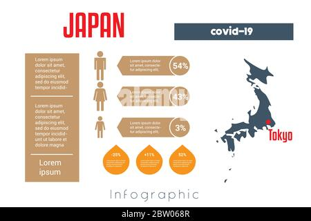 Universal template for infographics with Japan map silhouette. In this case, it is necessary to place information about covid-19 in this country. Plac - Stock Photo