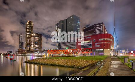 Modern architecture at Wilhelmina Square, Kop van Zuid, a redeveloped industrial docklands area in Rotterdam. - Stock Photo