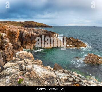 Summer on the cliffs at Hushinish in the Outer Hebrides in Scotland