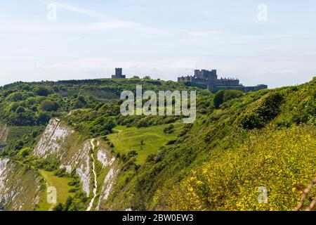 Old, medieval English castle on top of cliffs , Dover, Kent, UK . - Stock Photo