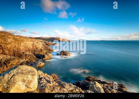 A long exposure from the clifftops at Hushinish on the Isle of Harris in the Western isles of Scotland