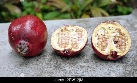 Close up the pomegranate on the table Stock Photo
