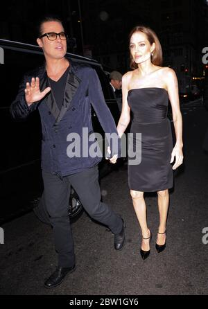 Brad Pitt and Angelina Jolie arrive at the Normal Heart premiere, New York, May 2014 - Stock Photo