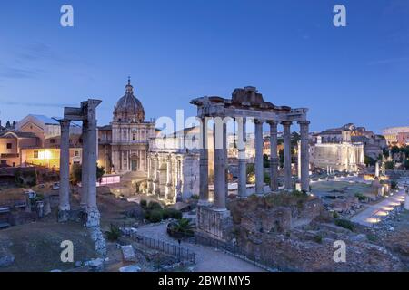 View of the Roman Forum at night, Rome, Italy - Stock Photo