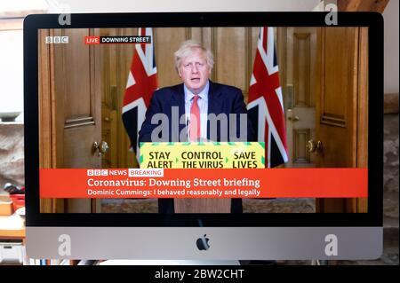 Computer screen TV image of Boris Johnson briefing after Dominic Cummings statement BBC news Downing Street London UK 25 May 2020 - Stock Photo