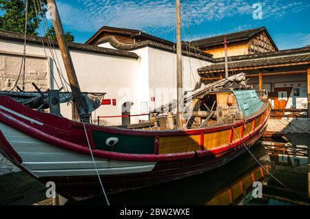 A Fujian style boat at the Maritime Museum on the Three Lanes Seven Alleys old town part of Fuzhou city, China