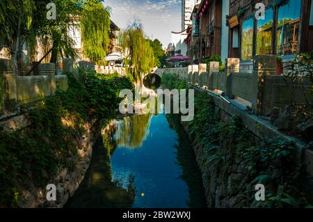 A waterway in the Three Lanes Seven Alleys old town part of Fuzhou city in Fujian Province China.