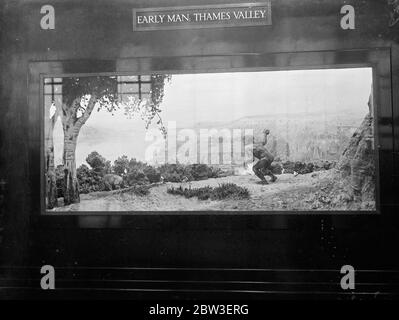 Display at the Geological Survey and Museum ( Geological Museum ) , South Kensington . Display of the first man in the Thames Valley hunting wild bear . 15 January 1935 - Stock Photo