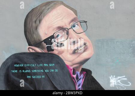 Stephen Hawking Graffiti Liverpool by French Artist Akse - Stock Photo