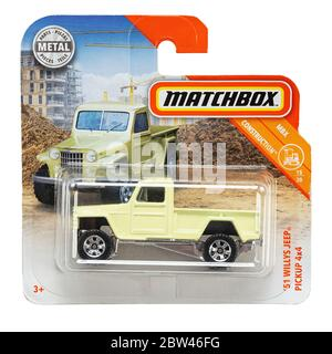 Ukraine, Kyiv - may 19. 2020:Toy car model 51 Willys Jeep pickup 4x4. Matchbox is a popular British toy brand that was introduced by Lesney Products i - Stock Photo