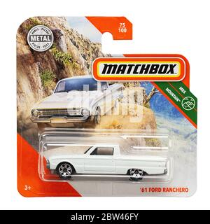 Ukraine, Kyiv - may 19. 2020:Toy car model 61 Ford Ranchero. Matchbox is a popular British toy brand that was introduced by Lesney Products in 1953 an - Stock Photo