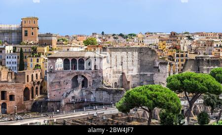 View at the Rome cityscape with House of the Knights of Rhodes and Forum Augustus at the foreground as seen from Piazza Venezia in Rome, Italy. - Stock Photo