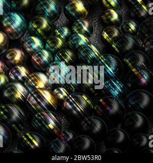 Decorative and abstract background of black metallic spheres with colorful striped lines
