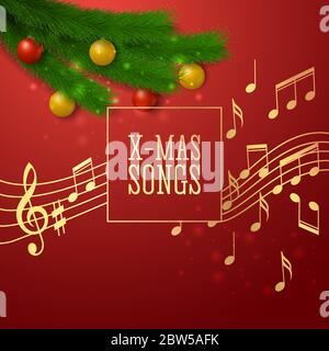Festive background on the theme of Christmas songs, realistic style. Vector illustration - Stock Photo