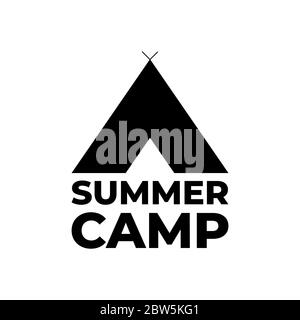 Forest camping logo emblem vector illustration. Outdoor adventure leisure, Camp tent silhouette shirt, print stamp. Vintage typography badge design. - Stock Photo