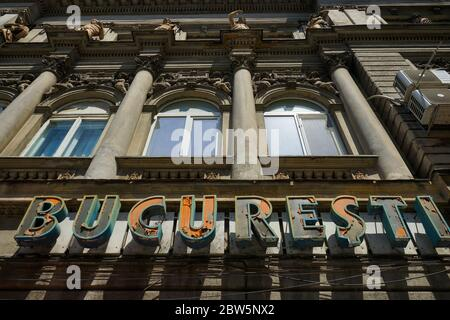 Bucharest, Romania - May 11, 2020: The building of the former Trianon cinema, later Bucharest, built in 1864 according to the plans of the architect A - Stock Photo