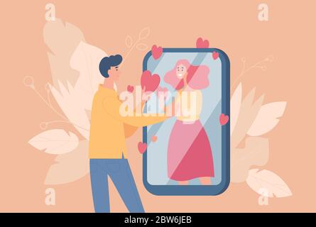 Online dating and distant relationship vector flat cartoon illustration. Young romantic couple in love talking throw social network. Cute boy and girl having conversations on smartphone. - Stock Photo