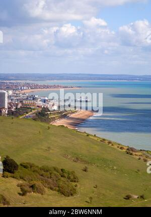eastbourne viewed from the downs at beachy head east sussex - Stock Photo