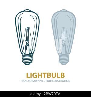 Lightbulb. Lightbulbs hand drawn vector illustrations set. Vintage lightbulb sketch drawing. Part of set. - Stock Photo