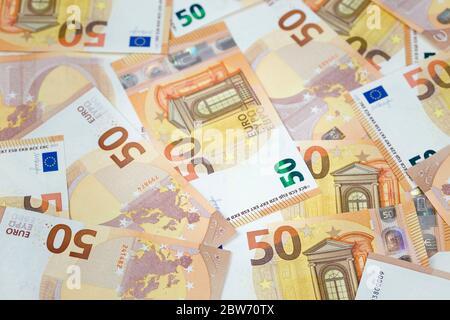 Fifty euro banknotes - Stock Photo
