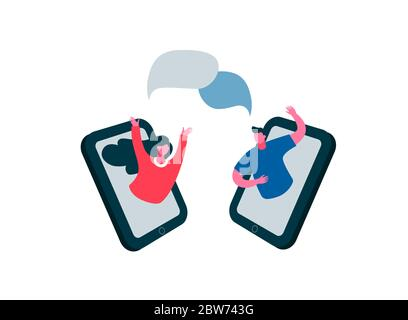 Telephone online communication speech bubble. Illustration of communication between close friends. - Stock Photo