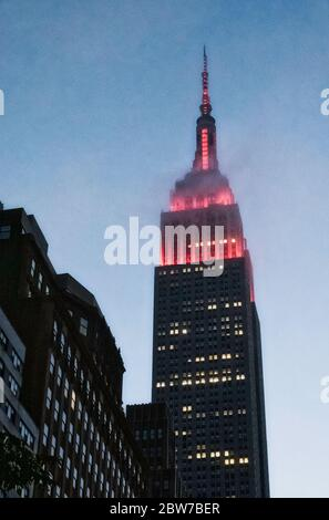 The lights on the Empire State Building flash red during the Covid-19 pandemic, USA