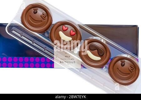 Pack of M&S Milk Chocolate Emotions - put a smile on your face chocolates set on white background - Stock Photo